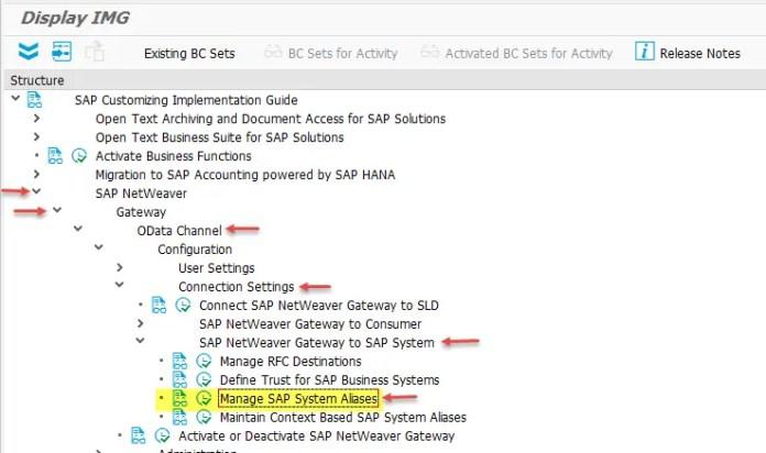 Manage SAP System Alias