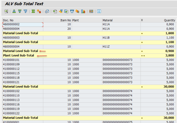 ALV Report- Sub Total Text