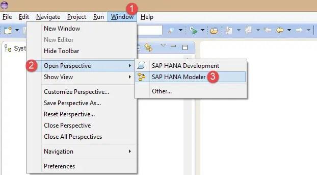 SAP HANA Modeler Perspective