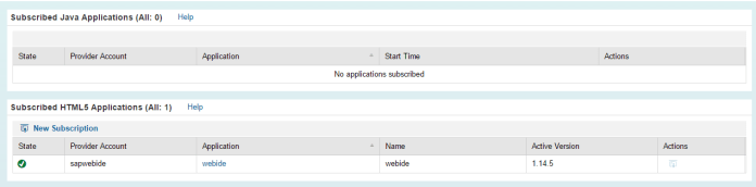 SAP HCP Cockpit Subscriptions