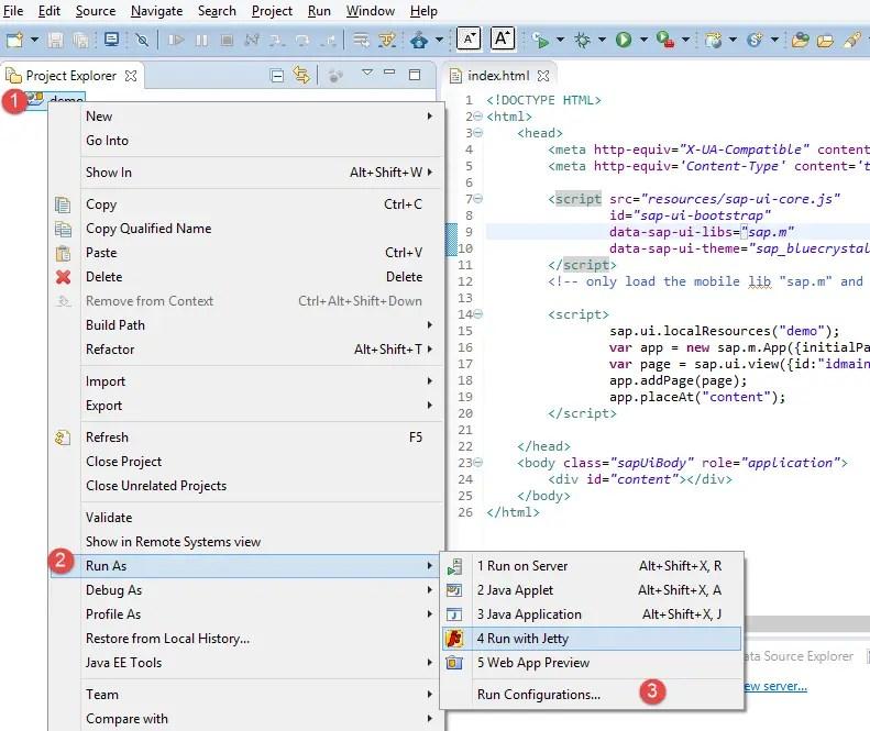 Run Configurations for SAPUI5