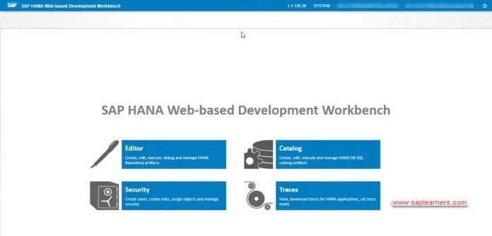 SAP HANA Web-based Development Workbench