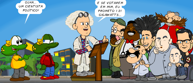 cientista político, piada, tiras, humor, HQ, quadrinhos, infantil