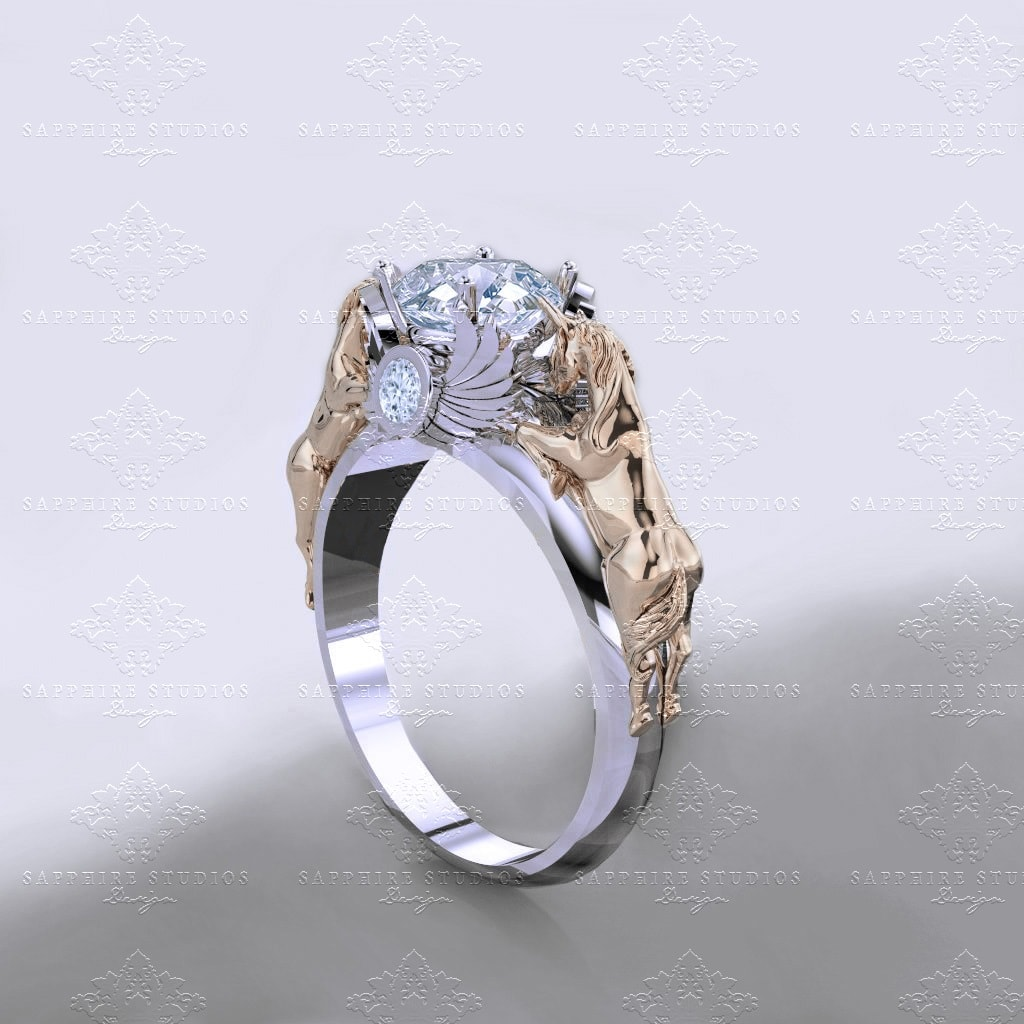 November Verse 120ct Natural White Diamond Gold Unicorn