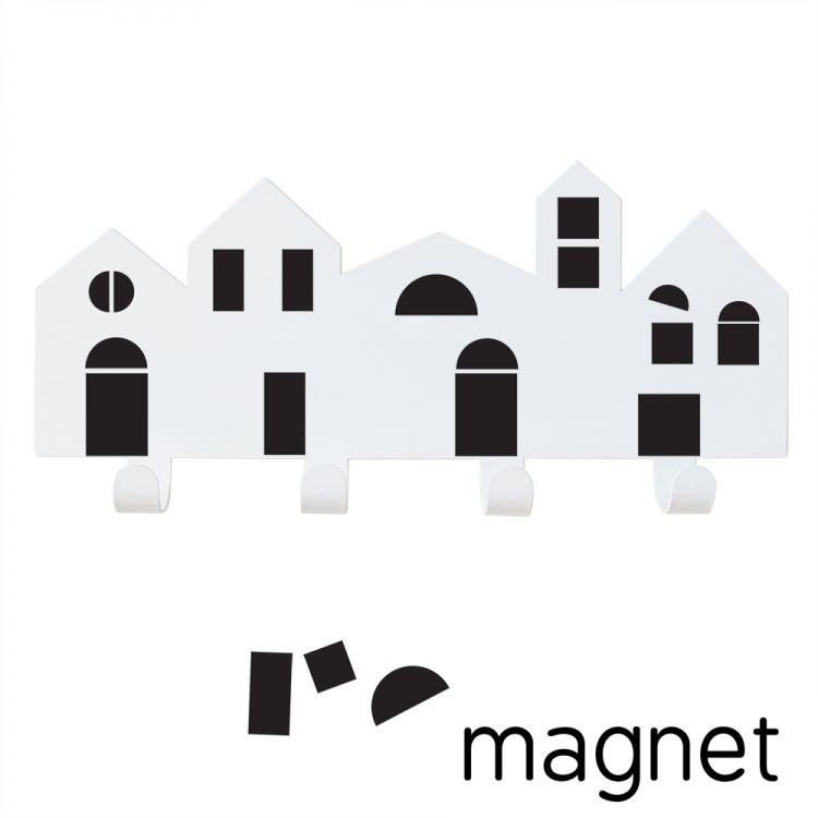 Porte-manteau ville avec portes et fenêtres aimantées noires * Tresxics