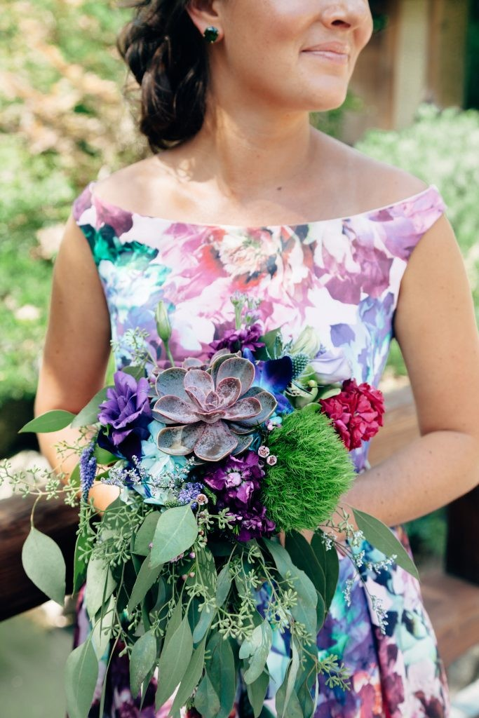 Colorfully Inspired Anderson Japanese Gardens Summer outdoor Wedding with stunning bouquets and vintage styled floral bridesmaid dresses, photographed by Sara Anne Johnson Rockford, Illinois Wedding Photography
