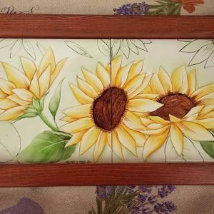 Vassoio in ceramica girasoli