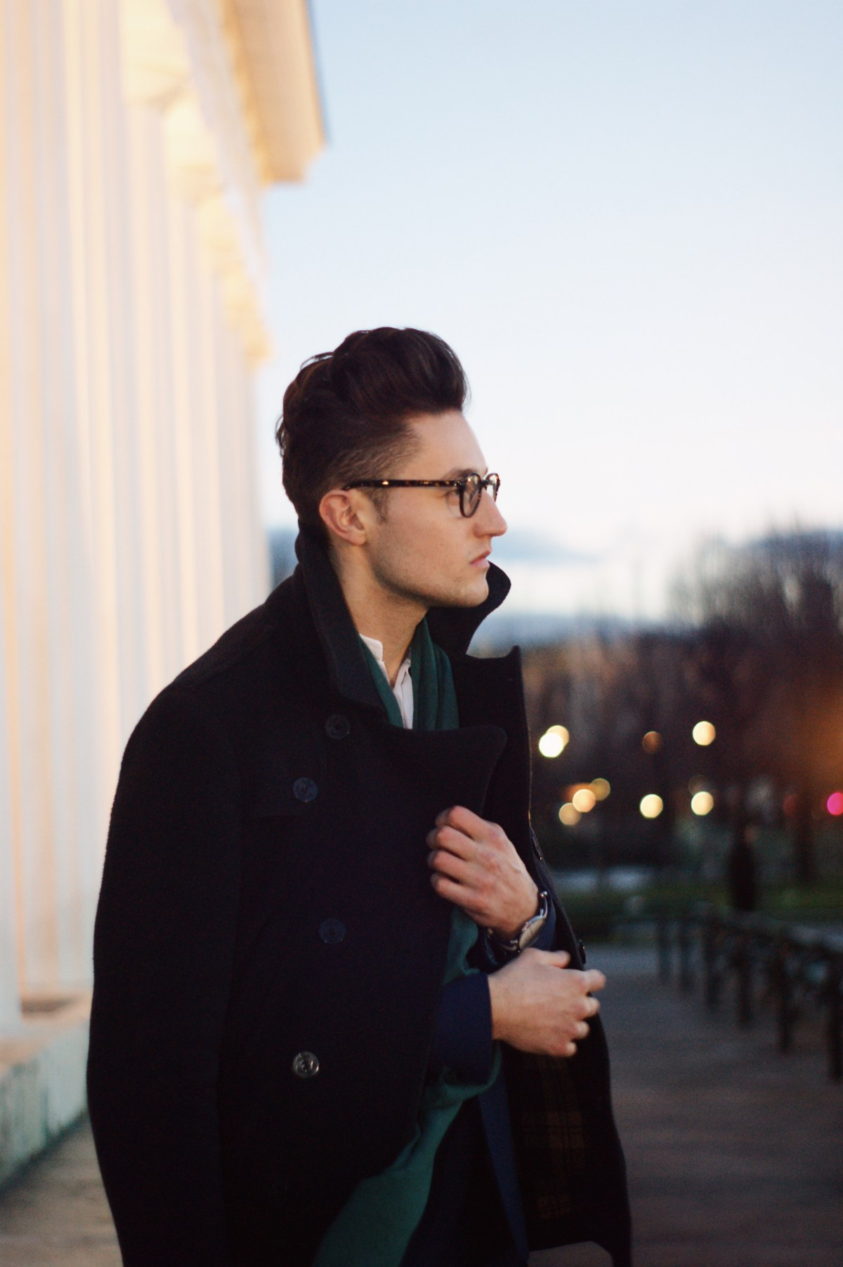 a magical sunset in vienna during the fashion shoot of sarafi's fashion blog