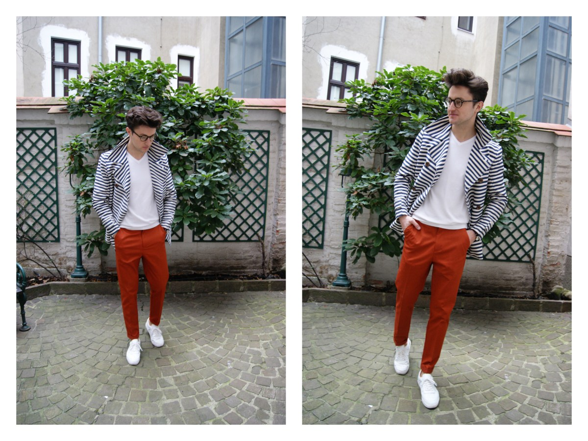 menswear fashion blogger wearing a marine inspired look with red pants.