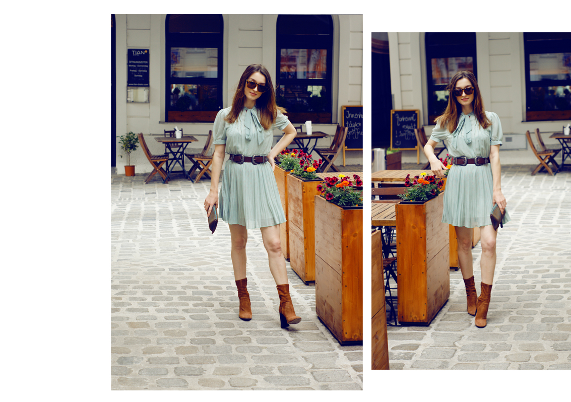 fashion and lifestyle blogger sarafi in a babyblue dress by Zara.