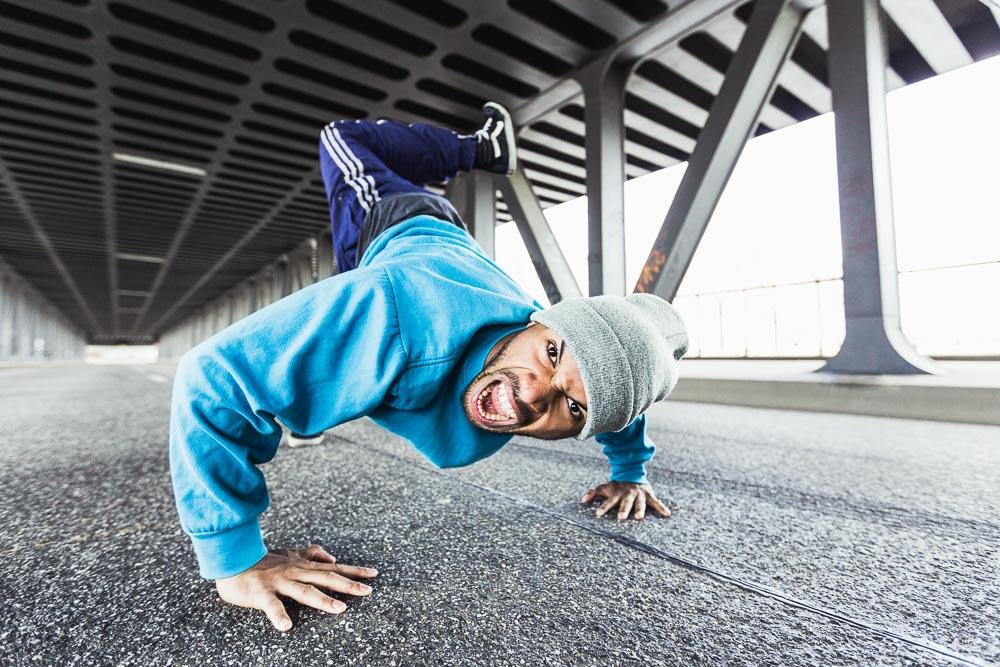 Tänzer Portrait in Action Crump Hiphop Portraitfotograf Portraitfotografie