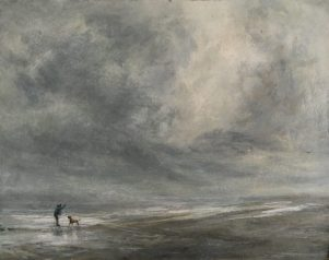 One Man One Dog, Seasalter, (34 x 38 cm)