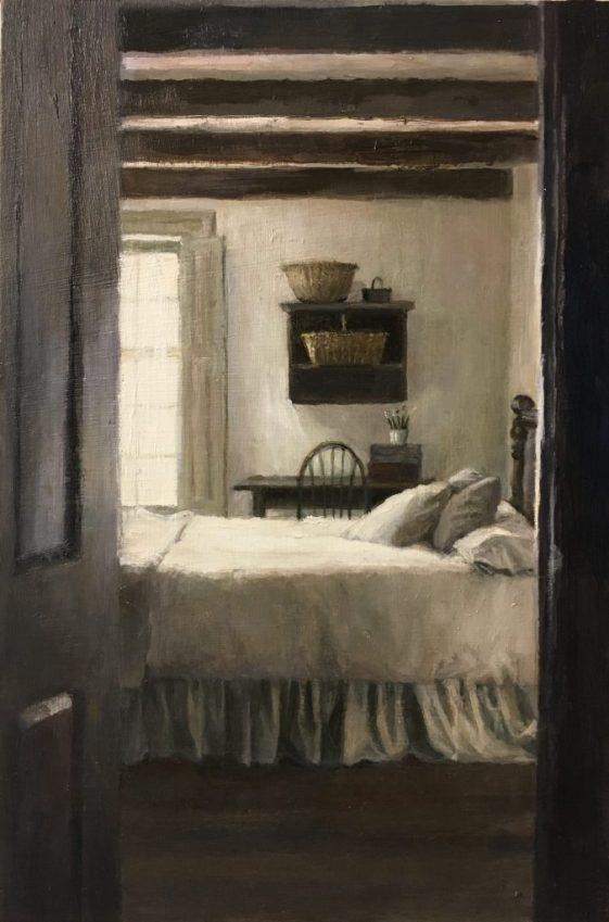 Bedroom Interior, Vieux-Marche, Oil on Panel