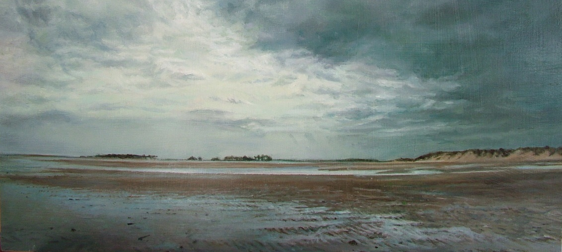 Holkham Beach, Low Tide, (detail) oil on panel, (55 x 63 cm)