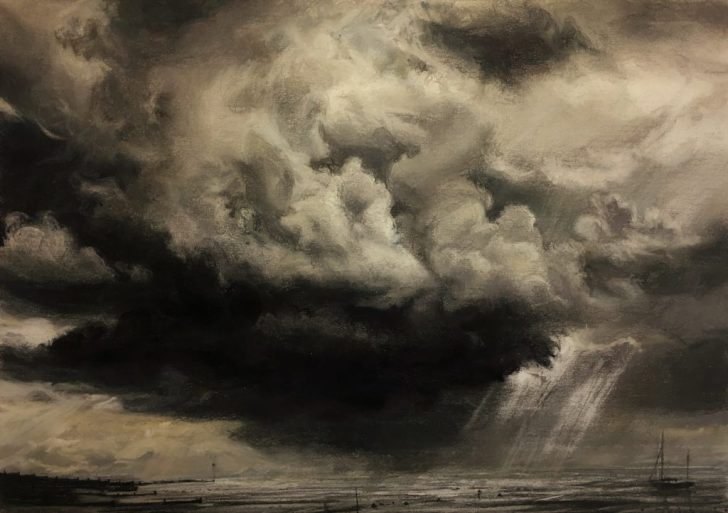 Dark Cloud Passing, Whitstable. Charcoal and Pastel