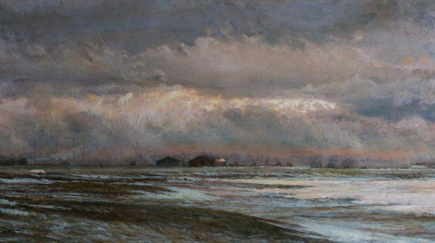 Winter, Elmley Marshes. Oil on Panel. (31 x 44 cms)