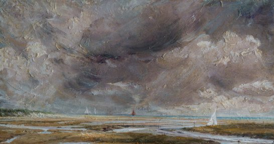 Marshes and Dunes, Norfolk. Oil on panel. (32 x 45 cms)