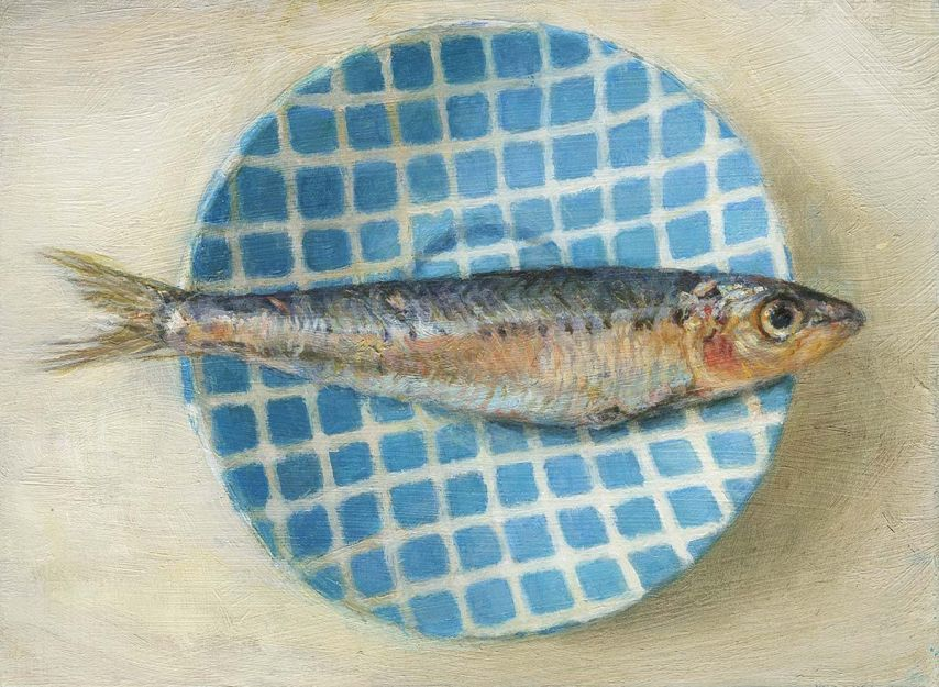Fish on a Dish, Oil on panel. (26 x 31 cms)