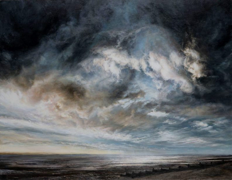 Whitstable Sea and Skyscape Oil on board. (120 x 120 cms)