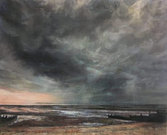 Sky and Beach, Whitstable, Oil on panel, (35 x 39 cms)