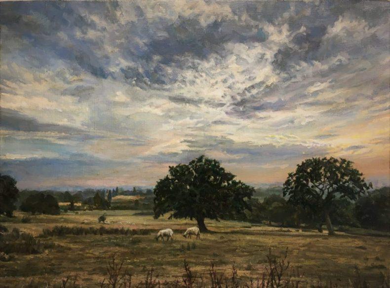 Dargate Evening. Oil on panel. 34 x 47 cms