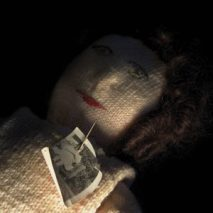 Knitted Poppet with Photograph: Museum of Witchcraft and Magic, 2013