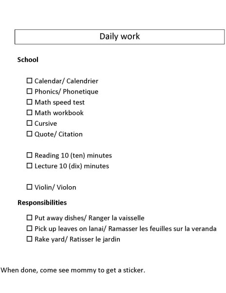 Image of homeschool daily checklist