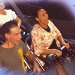 Burton Richardson and Sarah Badat Richardson on Thunder Dolphin roller coaster