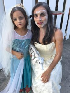 Photo of Sarah Badat Richardson and daughter with Halloween Costumes