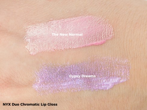 NYX Duo Chromatic Lip Gloss Swatch - The New Normal, Gypsy Dreams