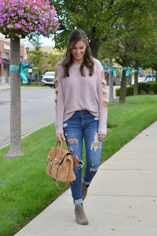 ladder sleeve sweater