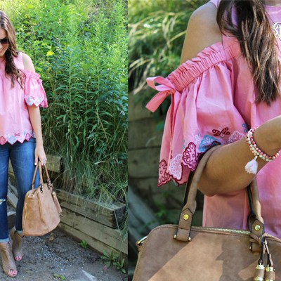 Pink Ruffled Cold-Shoulder Top