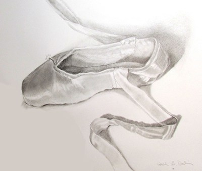 drawing of a ballet slipper