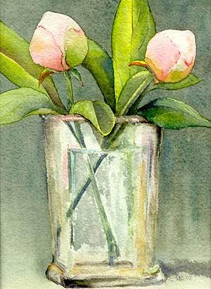 watercolor of peonies in a vase