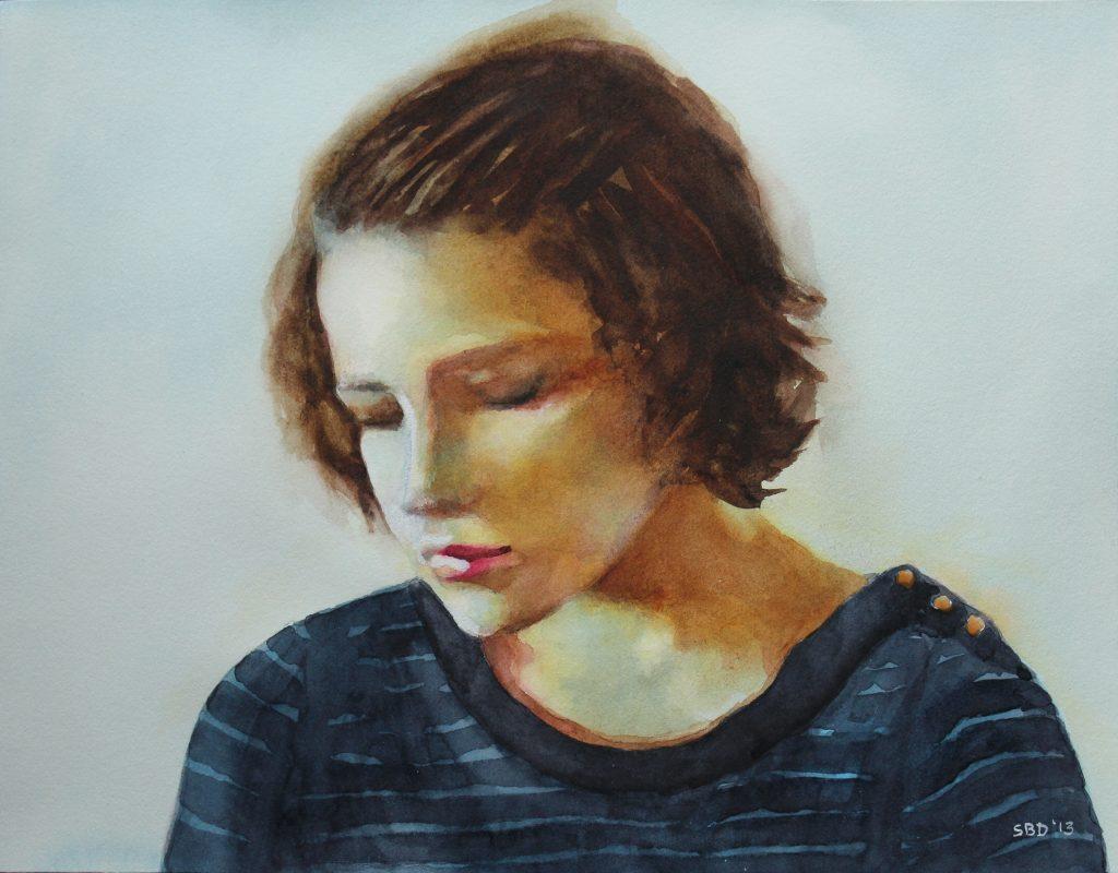 watercolor of woman reflecting
