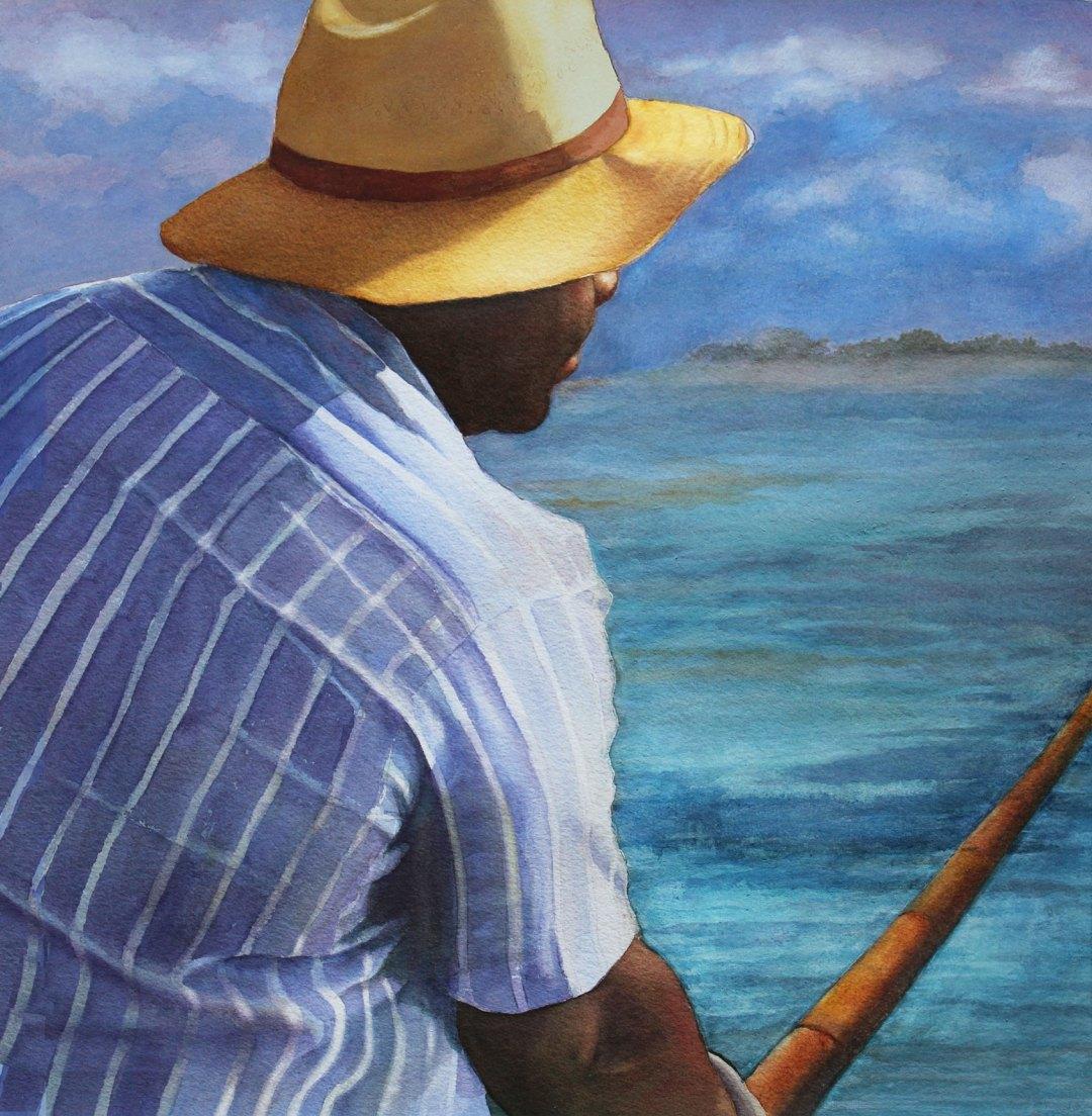 BLACK MAN FISHING AT THE OCEAN