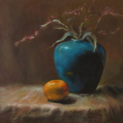 oil painting of vase and orange