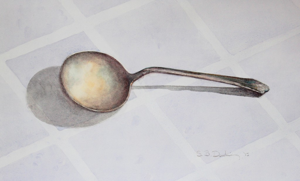 watercolor of antique spoon