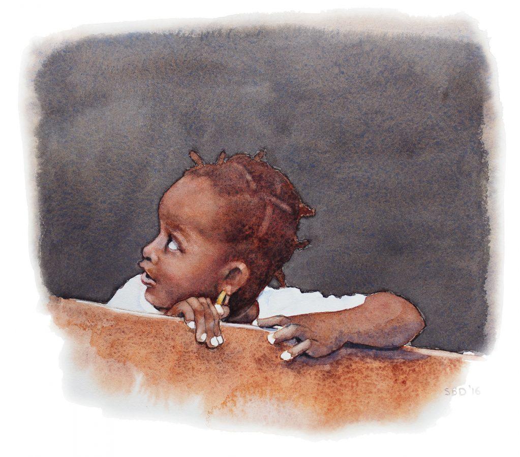 watercolor of Caribbean girl