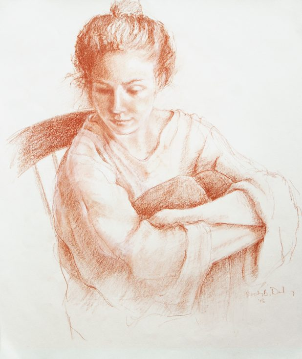 Sepia pencil portrait of young woman
