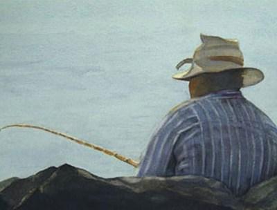 black man fishing