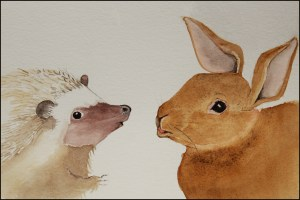 illustration of rabbit and hedgehog