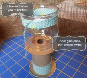Candle Jar Glam Up - glue and trim