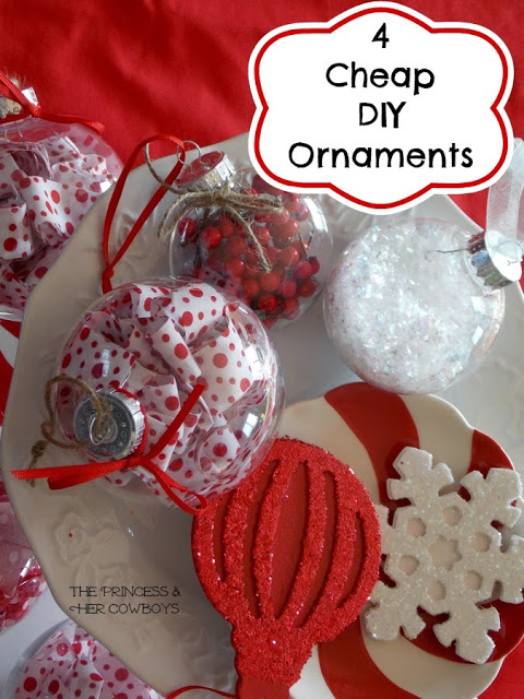 4 Cheap DIY Ornaments - The Princess and Her Cowboys - Sarah Celebrates #2usestuesday FEATURE