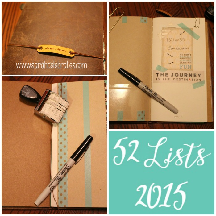 52 Lists 2015 in Midori Travelers Notebook | Sarah Celebrates