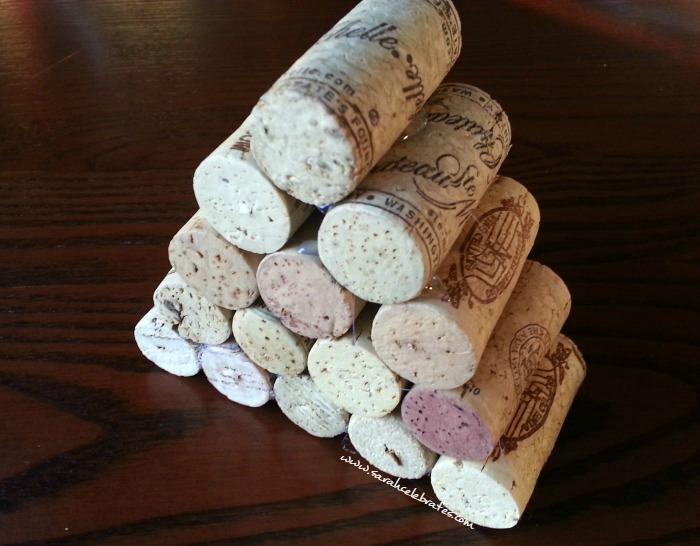 Wine Cork Tree- Continue gluing until the stack is a triangle |Sarah Celebrates