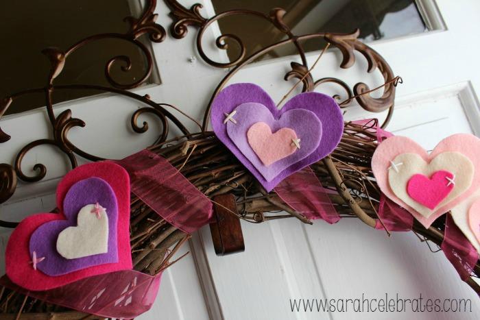 Felt Hearts - Wreath on Door | Sarah Celebrates