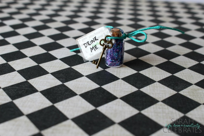 Alice Drink Me Bottles - Drink Me Tag and Key | Sarah Celebrates
