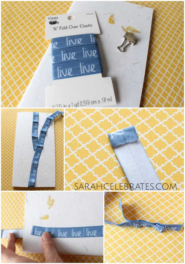 DIY Travelers Notebook Accessories - Elastic Bookmark - Measure, Fold and Glue, Stretch and Glue | Sarah Celebrates