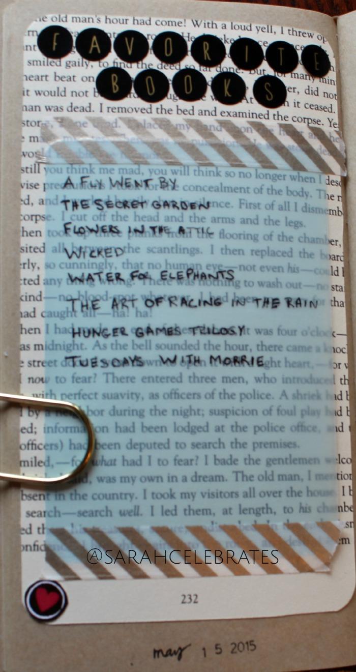 #52Lists2015 List 20 - Favorite Books | Sarah Celebrates